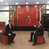 Московская съемочная группа телеканала TV BRICS взяла интервью у Чэнь Чжигана в ходе II Евразийской научно-технологической конференции